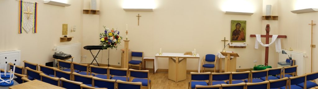 Newly built church interior.